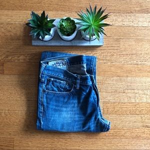 ABERCROMBIE & FITCH DISTRESSED BOOT CUT JEANS